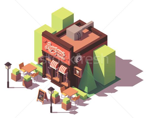Vector pizzería edificio aire libre negocios Foto stock © tele52