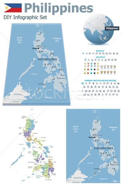 Filipinler haritaları ayarlamak siyasi semboller Stok fotoğraf © tele52