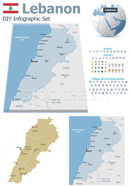 レバノン マップ セット 政治的 シンボル インフォグラフィック ストックフォト © tele52