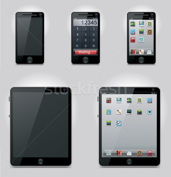 Vector tablet computer and mobile phone icons Stock photo © tele52