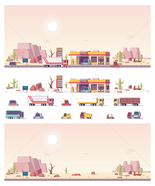 Vector isometric low poly filling station Stock photo © tele52