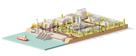 Vector low poly wastewater treatment plant Stock photo © tele52