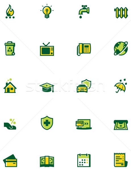 Paying bills icon set Stock photo © tele52