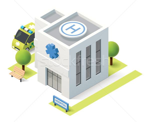 Stockfoto: Vector · isometrische · ziekenhuis · gebouw · icon · huis