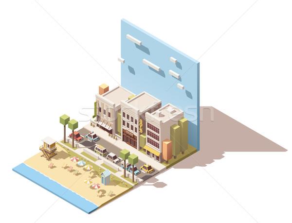 вектора изометрический города пляж улице автомобилей Сток-фото © tele52