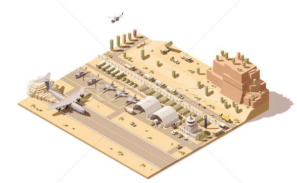Vector isometric low poly infographic element representing map of military airport or airbase with j Stock photo © tele52