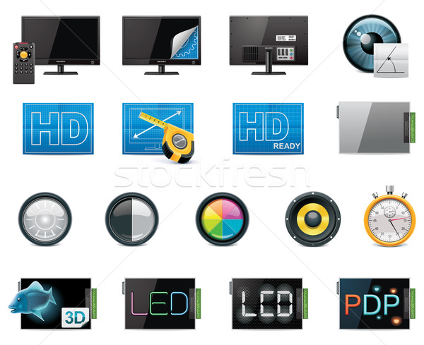 Vector TV features and specifications icon set. Part 1 (color, detailed) Stock photo © tele52
