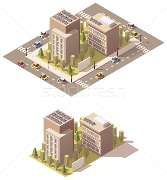 Foto stock: Vetor · isométrica · baixo · cidade · rua · casa