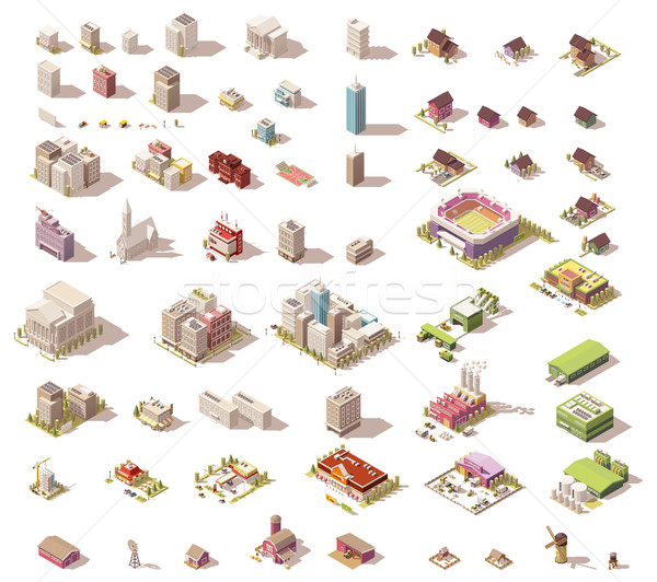 Vector isometric low poly buildings and houses Stock photo © tele52