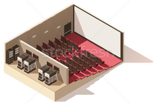 Vector isometric low poly movie theater cutaway Stock photo © tele52