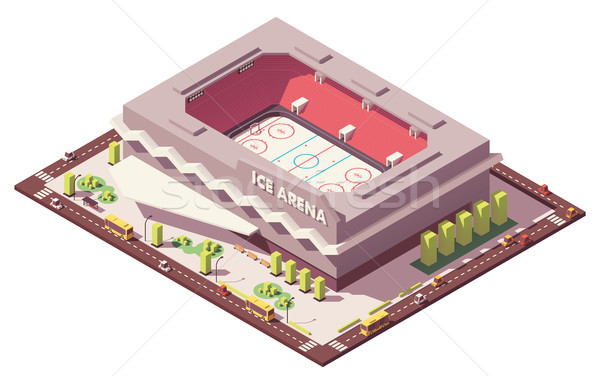 Vector isometric low poly ice hockey rink Stock photo © tele52