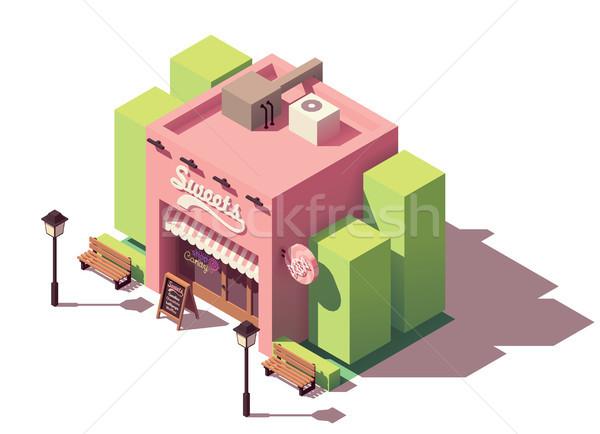 Stockfoto: Vector · isometrische · snoep · winkel · banketbakkerij · store