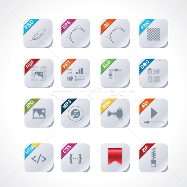 Simple square file labels icon set Stock photo © tele52