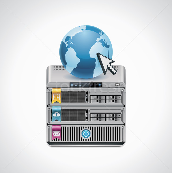 Vector server icon gedetailleerd technologie veiligheid Stockfoto © tele52