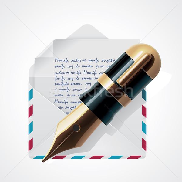 Wektora mail ikona szczegółowy list kopercie Zdjęcia stock © tele52