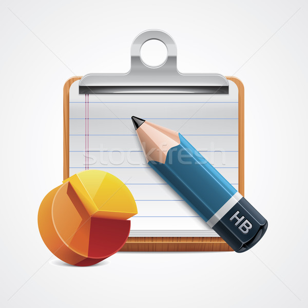 Foto stock: Vetor · análise · ícone · detalhado · lápis