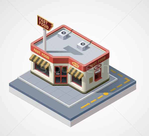 Vector isometric fast food cafe Stock photo © tele52