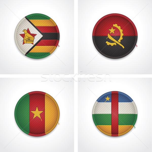 Сток-фото: флагами · ткань · жетоны · набор · подробный