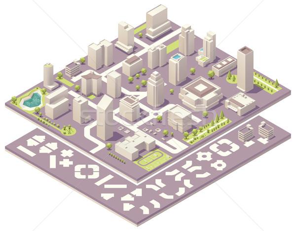 Izometrikus város térkép teremtés készlet szett Stock fotó © tele52