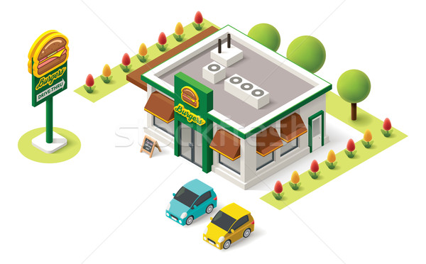 Vektör izometrik fast-food Bina ikon ofis Stok fotoğraf © tele52