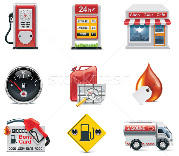 Vetor posto de gasolina conjunto combustível carro Foto stock © tele52