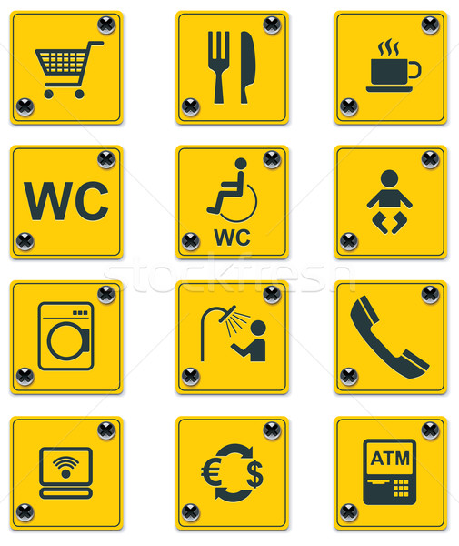 Vector roadside services signs icon set. Part 1 Stock photo © tele52