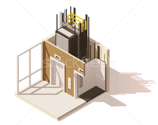 вектора изометрический низкий лифта икона Сток-фото © tele52
