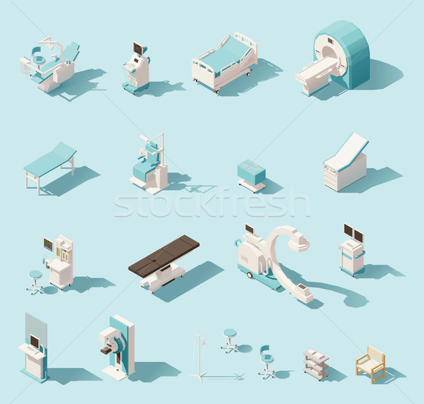 Vector isometric low poly medical equipment set Stock photo © tele52