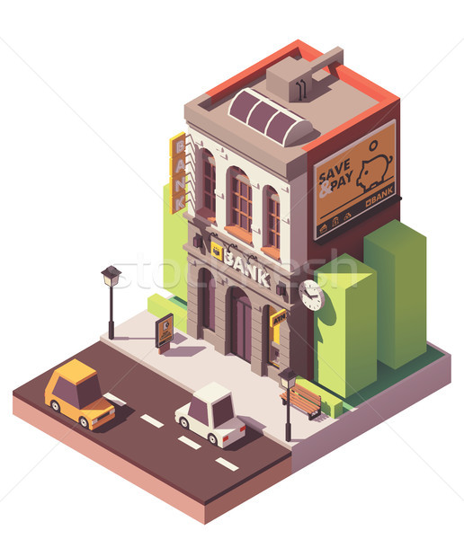Vector isometric old bank building Stock photo © tele52
