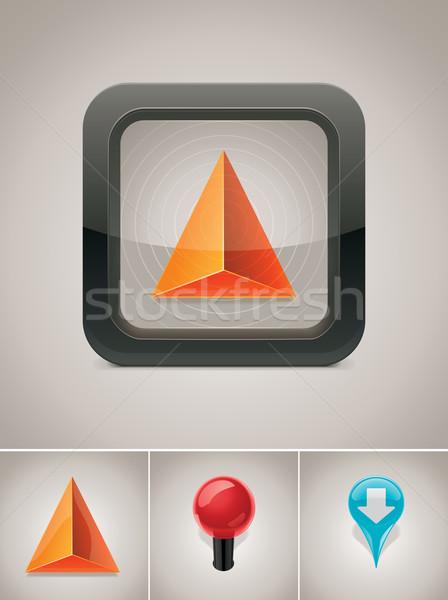 Vector GPS navegación icono detallado cuadrados Foto stock © tele52