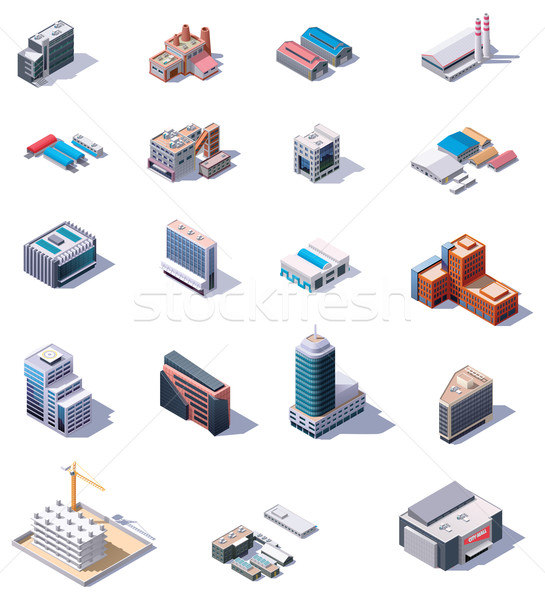 Stok fotoğraf: Izometrik · fabrika · ofis · binaları · ayarlamak · vektör · endüstriyel