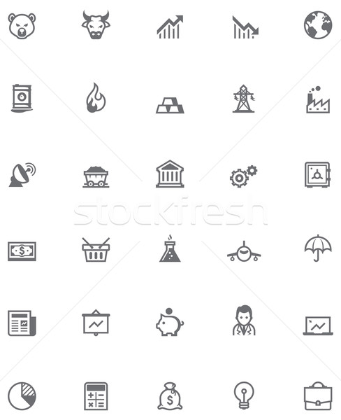 Vector stock market icon set Stock photo © tele52