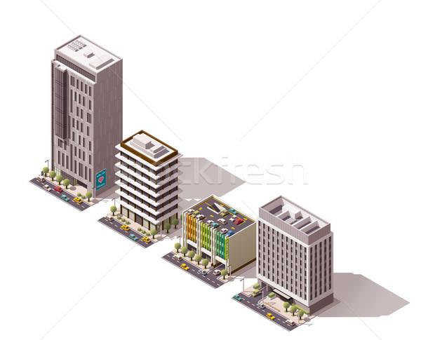 Vektor izometrikus épületek szett város épület Stock fotó © tele52