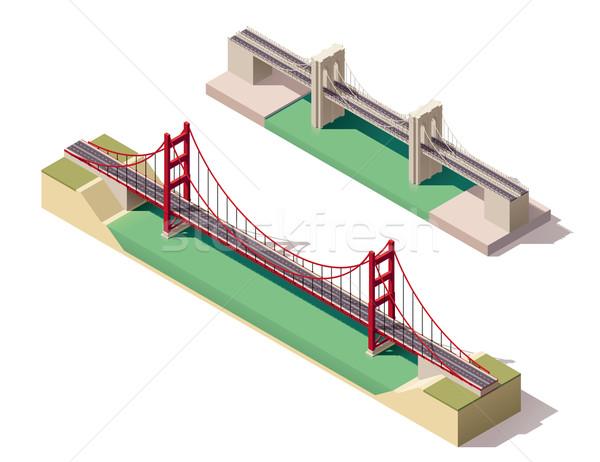 Vektör izometrik süspansiyon köprüler nehir araba Stok fotoğraf © tele52