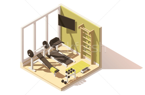 Vector isometric low poly gym oom icon Stock photo © tele52