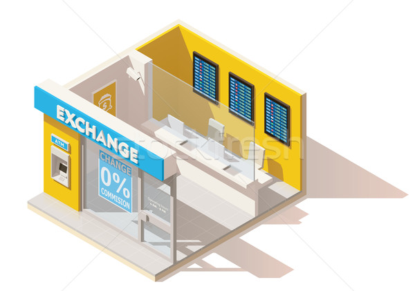 Vector isometric low poly currency exchange Stock photo © tele52