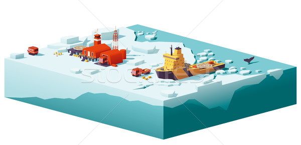 Vector low poly polar station and icebreaker Stock photo © tele52