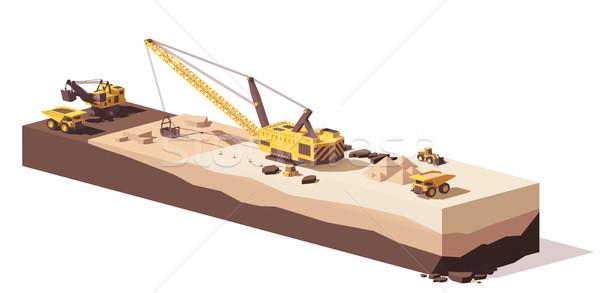 Vector low poly excavators and haul truck Stock photo © tele52