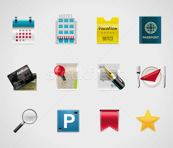 Vector hotel and traveling icons Stock photo © tele52