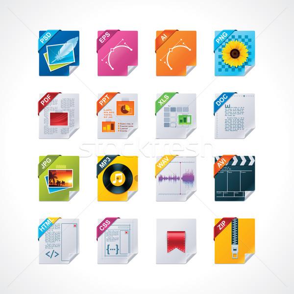 Dosya etiketler ayarlamak ayrıntılı simgeler Stok fotoğraf © tele52