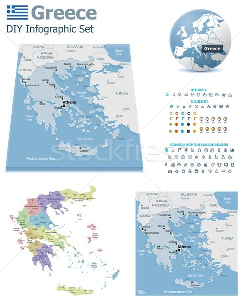 Греция карт набор политический Сток-фото © tele52
