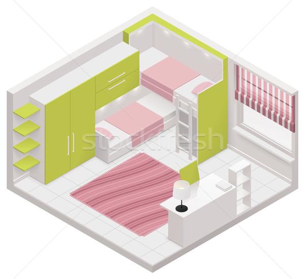 Vector isometrische kinderen kamer icon gedetailleerd Stockfoto © tele52