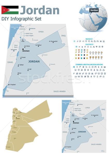 Jordania mapy zestaw polityczny symbolika Zdjęcia stock © tele52