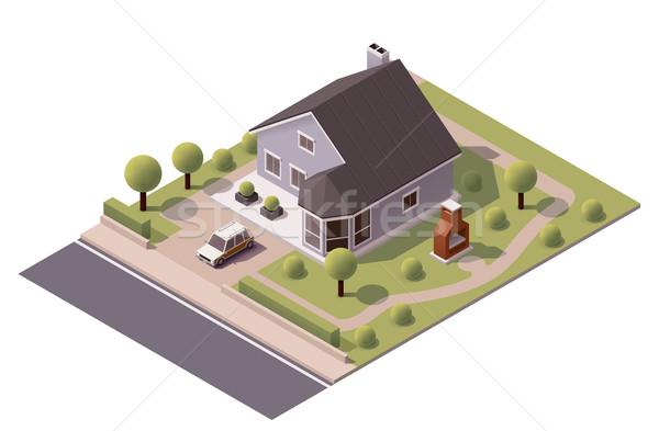 Wektora izometryczny nowoczesne domu ikona podwórko Zdjęcia stock © tele52