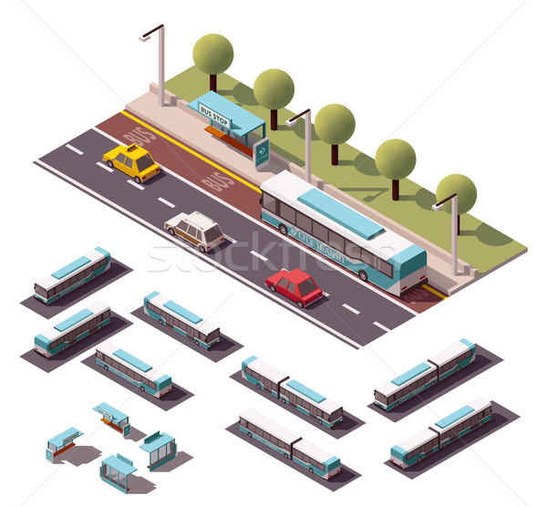 ストックフォト: ベクトル · アイソメトリック · バス停 · アイコン · 建物 · 建設