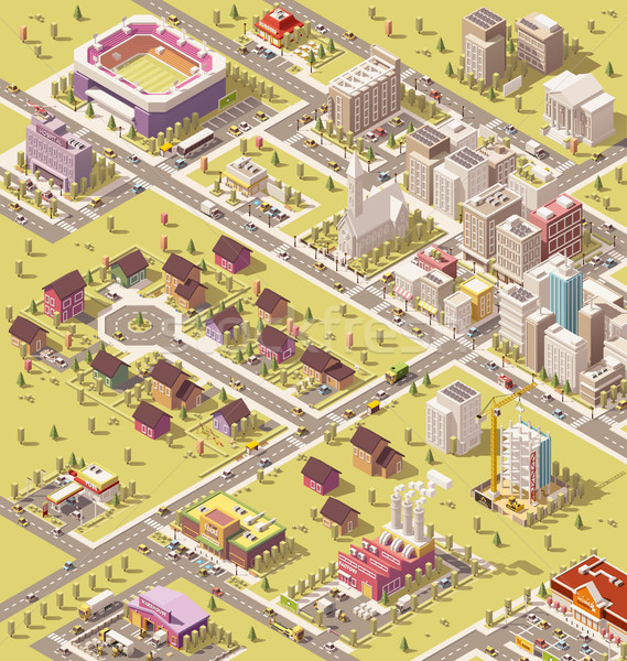 Vector isometric low poly city Stock photo © tele52