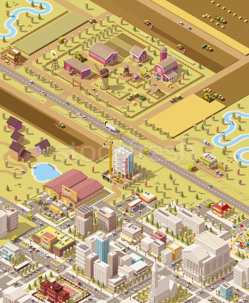 Vector isometric low poly farm and city Stock photo © tele52