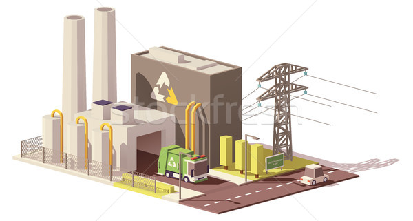 Vector low poly waste-to-energy plant Stock photo © tele52