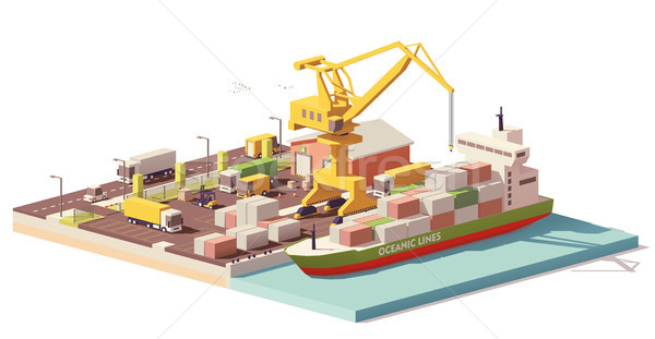 Vector laag haven container schip vracht Stockfoto © tele52