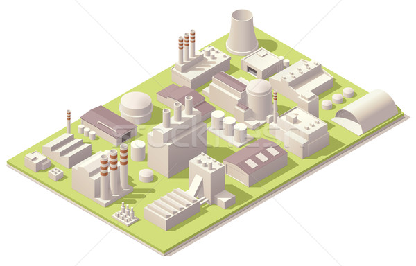 Isometric factory buildings Stock photo © tele52
